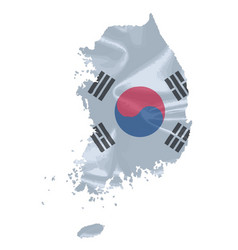 South korean flag map vector