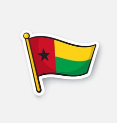 Sticker flag guinea-bissau vector