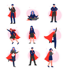 super businesspeople in red capes collection vector image