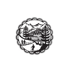 Swiss Chalet Alpine Hiker Decoupage vector