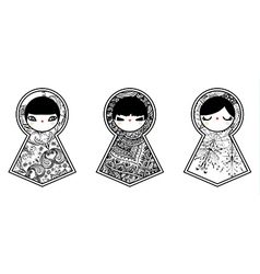 Three geometric babushka matryoshka dolls vector image