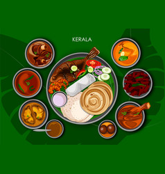 traditional keralite cuisine and food meal thali vector image