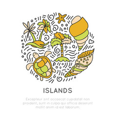 tropical island icon set hand draw cartoon vector image