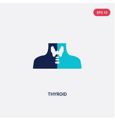 Two color thyroid icon from human body parts vector