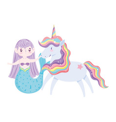 unicorn and mermaid magic cartoon isolated icon vector image
