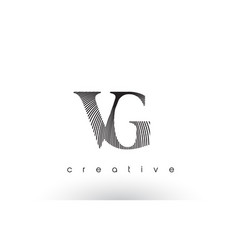 vg logo design with multiple lines and black and vector image
