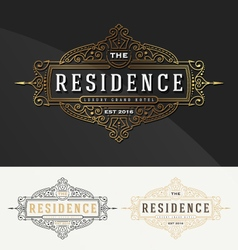 Vintage flourish frame logo template for Residence vector