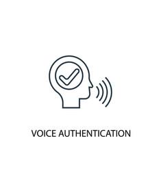 Voice authentication concept line icon simple vector