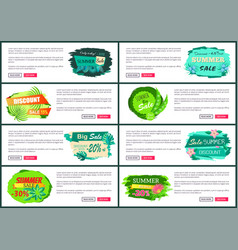 web posters set with discount off summer big sale vector image