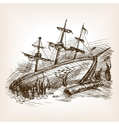 Wrecked ancient sailing ship sketch vector image