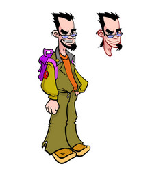 young man with a backpack in glasses character vector image