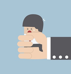 Businessman squeezed by boss hand vector image vector image
