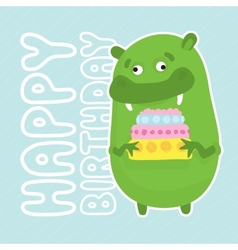 Green birthday monster vector image vector image