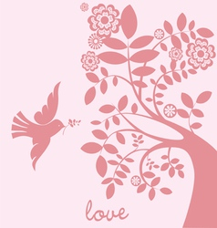 love tree dove vector image vector image