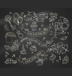 set of chalk valentines icons signs and symbols vector image
