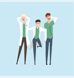 three smiling doctors hospital workers standing vector image vector image