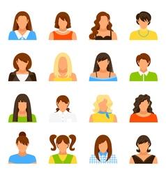 Woman Avatar Icons Set vector image