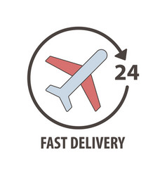 fast delivery logo with plane in circle fast vector image