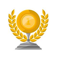 golden trophy cup with laurel wreath vector image