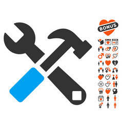 hammer and wrench icon with valentine bonus vector image vector image