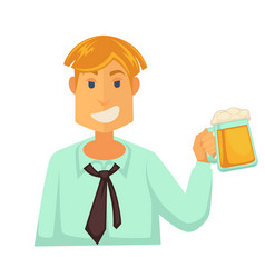 Man holding glass of beer with foam isolated on vector