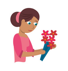 mother with flower decoration vector image vector image