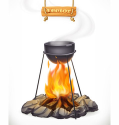 pot over the campfire camping outdoor cooking 3d vector image vector image