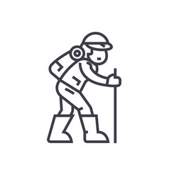travelerhiking man line icon sign vector image vector image