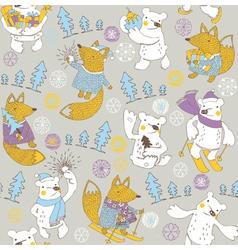 winter bear wallpaper vector image