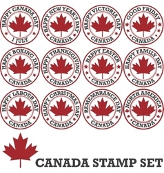 Canadian stamp set vector image vector image