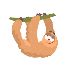 cute cartoon sloth character hanging on a tree vector image vector image