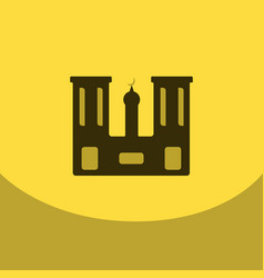 flat icon on yellowsquare arabic mosque with the vector image vector image