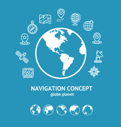 location and navigation concept and globe vector image