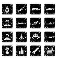 Military equipment icons set grunge style vector image