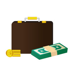 portfolio with money isolated icon vector image