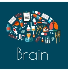 Human brain symbol with flat medical icons vector image