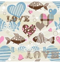 love fish seamless pattern vector image vector image