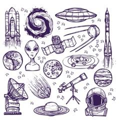 Space sketch set vector image vector image