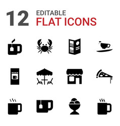 12 cafe icons vector