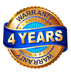 4 years warranty golden label with ribbon vector image