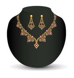 A female necklace and earring of beads and vector