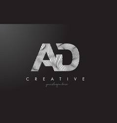 Ad a d letter logo with zebra lines texture vector