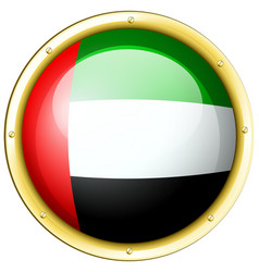 Arab emirates flag on round metal badge vector