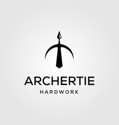 Archer tie up arrow hard work office logo vector