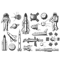 astronomy and outer space rockets shuttles icons vector image