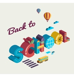 Back to school - text with icons concept vector