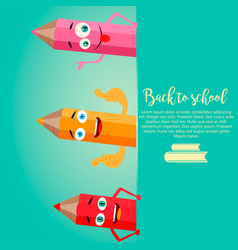 Back to school vertical background with pencils vector
