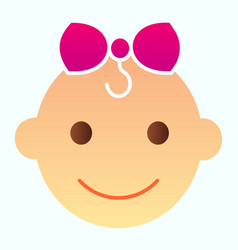 Bagirls face flat icon happy child head vector