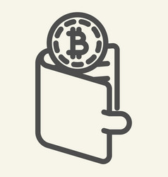 Bitcoins in wallet line icon crypto coins in vector