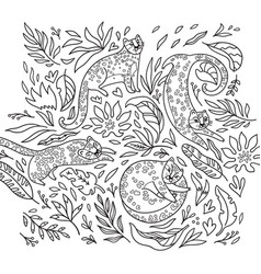 black and white print with leopards in jungle vector image